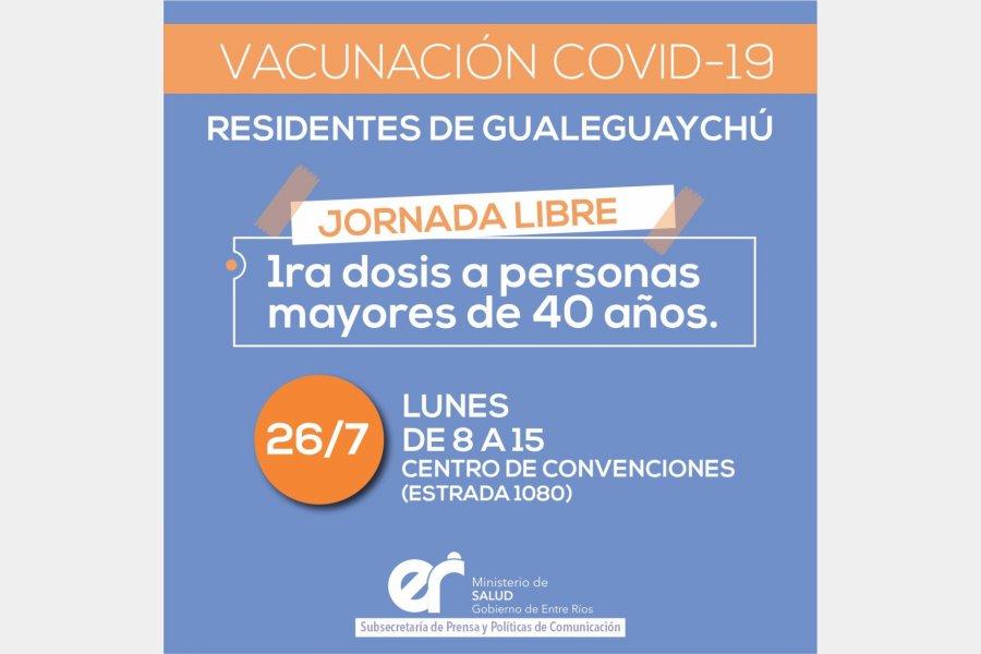 Jornada de vacunación libre contra el Covid-19 para mayores de 40 años